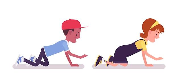 학교 소년, 소녀 재미, 손과 무릎에 크롤링