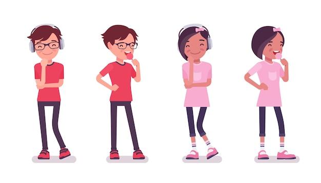 男子生徒、カジュアルウェアの女の子は甘いお菓子と笑顔を楽しんでいます。かわいい小さな子供、アクティブな若い友達の子供、7歳から9歳までの賢い小学生。ベクトルフラットスタイルの漫画イラスト