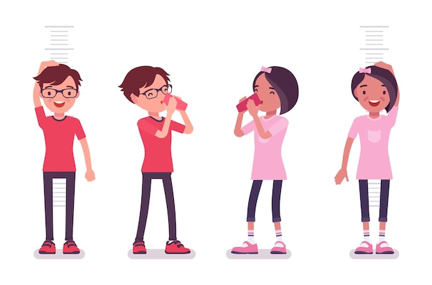 男子校生、飲み物とカジュアルな服装の女の子、身長測定