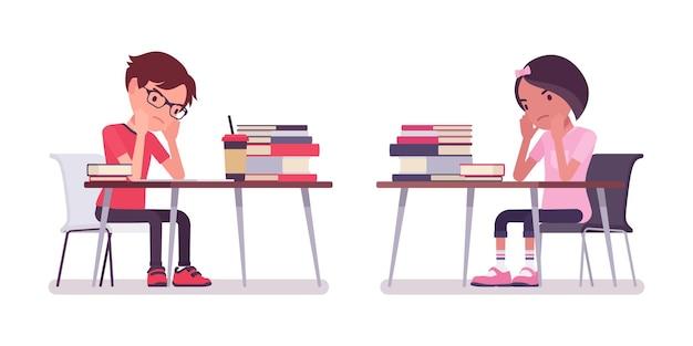 学校の男の子、勉強、仕事に疲れた机に座っている女の子
