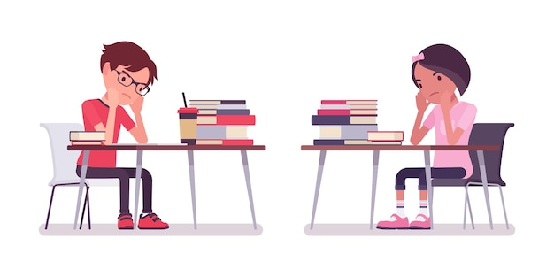 School boy, girl sitting at desk tired with study, work