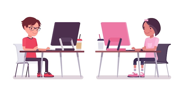 School boy, girl sitting at desk working with the computer. cute small children, active young friend kids, smart elementary pupils aged between 7 and 9 year old. vector flat style cartoon illustration