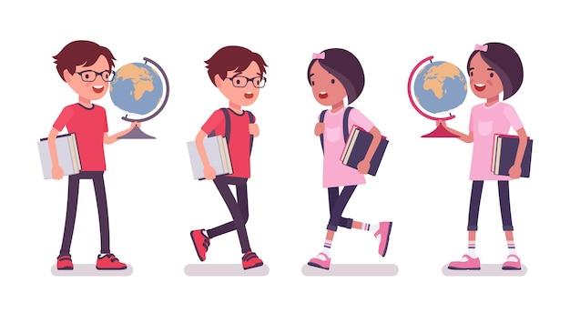 男子生徒、地球儀と教育のための本を持つ少女