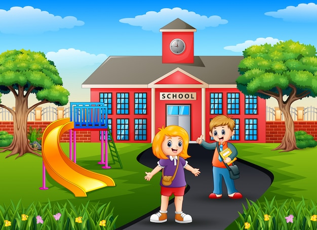 School boy and girl with backpacks in front of school building