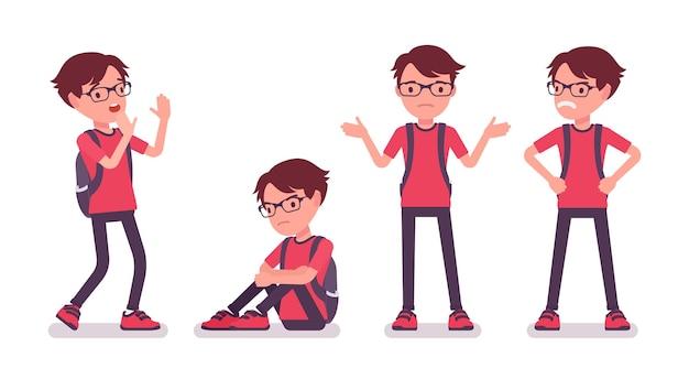 부정적인 감정에 평상복을 입은 학교 소년. 배낭을 메고 안경을 쓴 귀여운 작은 남자, 활동적인 어린 아이, 7세에서 9세 사이의 똑똑한 초등학생. 벡터 평면 스타일 만화 일러스트 레이 션