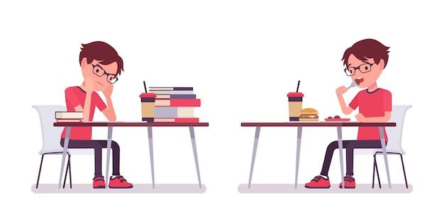 デスクで勉強して食事をしているカジュアルウェアの男子生徒眼鏡をかけたかわいい小さな男、アクティブな幼い子供、7歳から9歳までの賢い小学生。ベクトルフラットスタイルの漫画イラスト