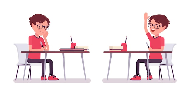 책상에서 공부하는 평상복을 입은 학교 소년 책을 든 안경을 쓴 귀여운 작은 남자, 활동적인 어린 아이, 7세에서 9세 사이의 똑똑한 초등 학생. 벡터 평면 스타일 만화 일러스트 레이 션