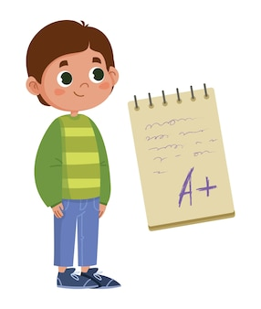School boy rejoices at a good mark for the exam inscription on the notebook vector flat. the test result is good cartoon