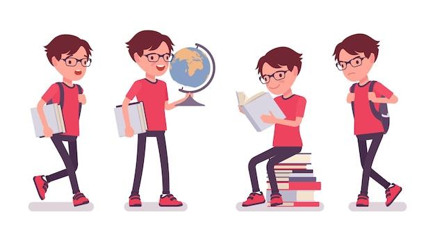 글로브와 책을 공부 하는 학교 소년. 안경을 쓴 귀여운 작은 남자, 바쁘게 배우는 활동적인 어린 아이, 7세에서 9세 사이의 똑똑한 초등학생. 벡터 평면 스타일 만화 일러스트 레이 션