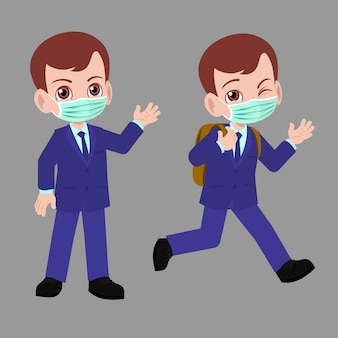 School boy in suits going back to school wearing face mask