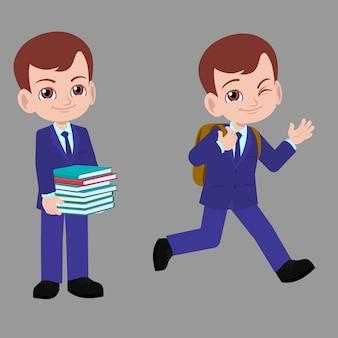 School boy in suits going back to school