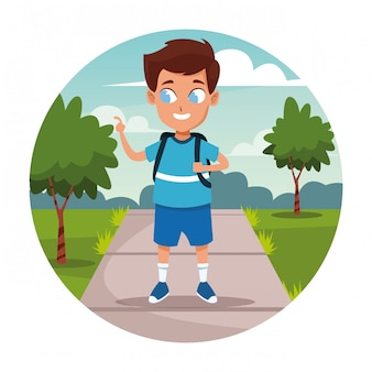School boy with backpack cartoon