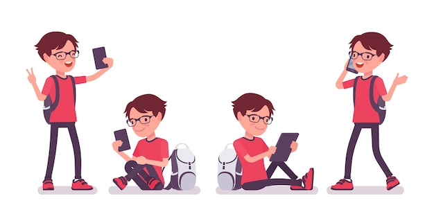 가제트, 스마트폰 및 태블릿을 가진 학교 소년입니다. 배낭을 메고 안경을 쓴 귀여운 작은 남자, 활동적인 어린 아이, 7, 9세 사이의 똑똑한 초등학생. 벡터 평면 스타일 만화 일러스트 레이 션