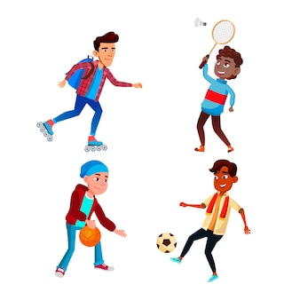 School boys sport occupation activity set vector. schoolboys riding roller skates, playing soccer football, basketball and badminton sport games. characters active time flat cartoon illustrations