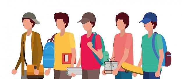 男子生徒、教育レッスン研究学習教室と情報 Premiumベクター