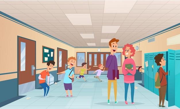 School break. trouble pupils and students disorganized at school break in corridor  cartoon characters