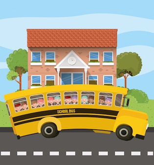 도로 장면에서 아이들과 함께 학교 건물과 버스