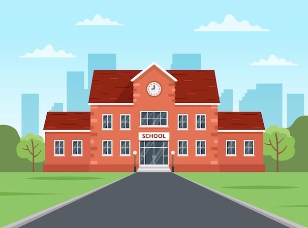 학교 건물. 학교 개념으로 돌아가기, 평면 스타일의 귀여운 다채로운 벡터 일러스트