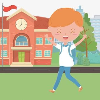 School building and boy cartoon