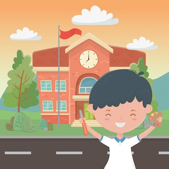 School building and boy cartoon