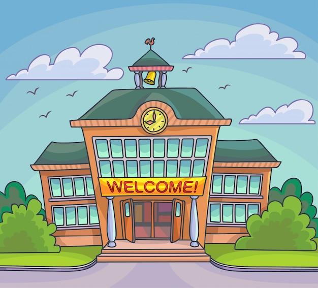 School building bright cartoon illustration vector