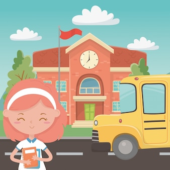School building bus and girl