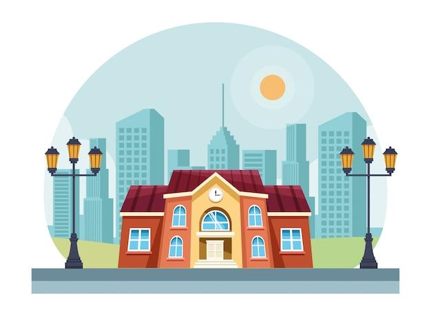 School building in the city scenery
