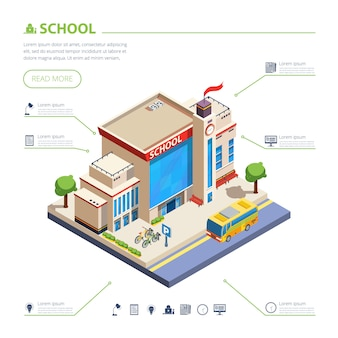 School building design illustration