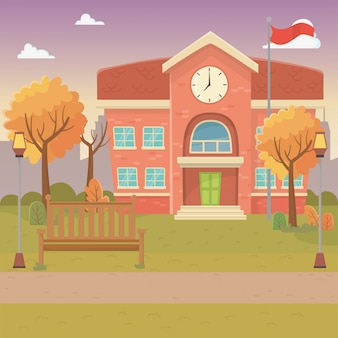 School building design vector illustration