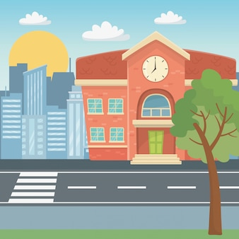 School building design vector illustration