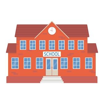 School building education concept vector flat illustration
