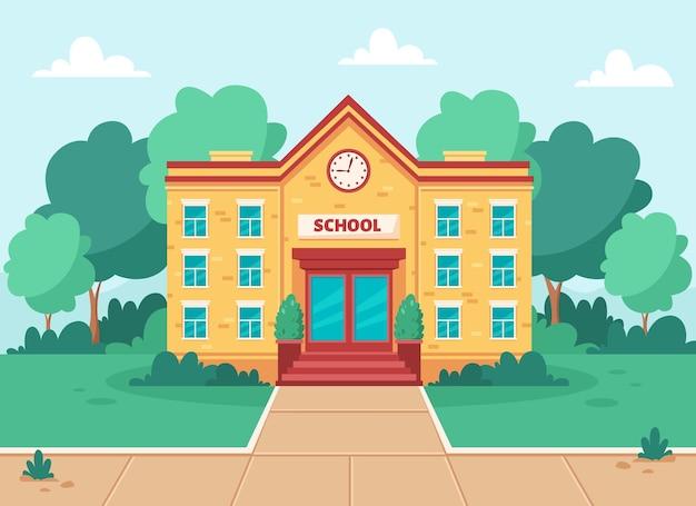 Школьное здание учебного заведения с палисадником, деревьями и газоном