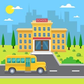 School building exterior yellow bus city view