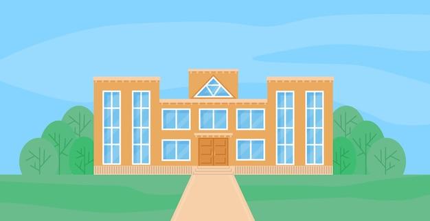 학교 건물 평면 만화 벡터 일러스트 레이 션 전면 보기
