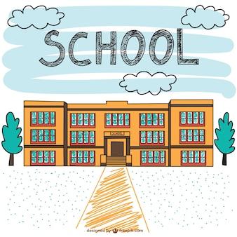 학교 건물 손으로 그린 장면