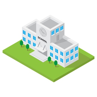 School building isometric vector for 3d map element