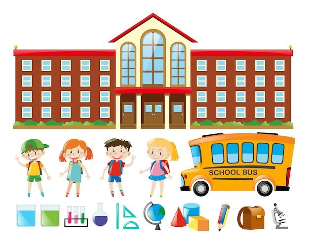 Edificio scolastico e molti bambini