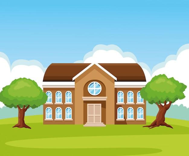 School building in nature cartoon