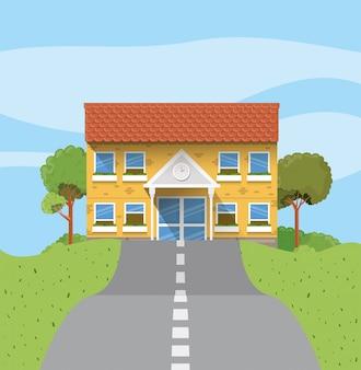School building in the road scene