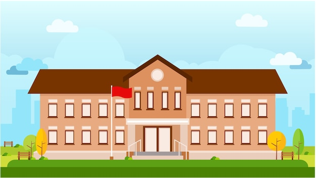 School building vector landscape