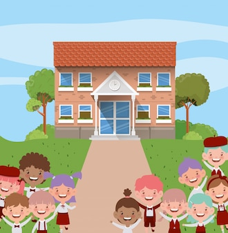 School building with interracial kids in the road scene