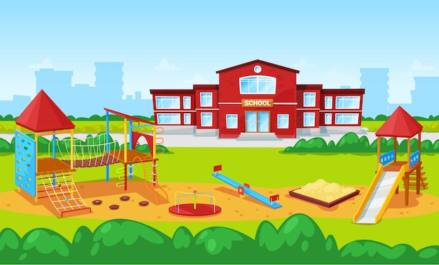 School building and yard playground for kids city illustration