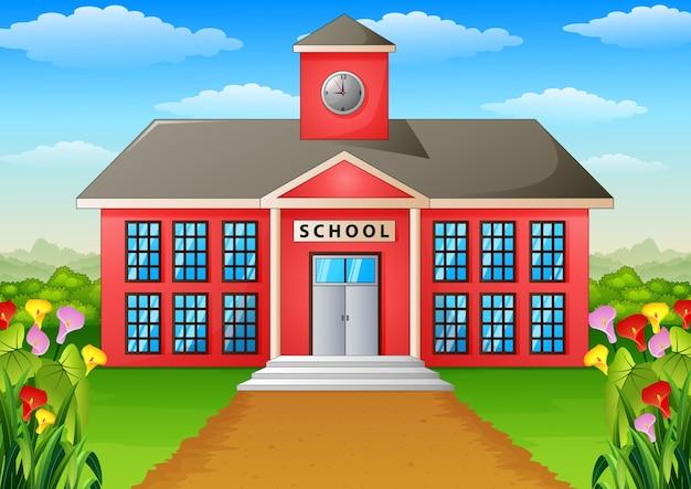 학교 건물과 학교 공원은 아름답게 조경되었습니다