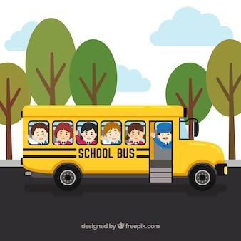 Школьный автобус и дети с плоским дизайном