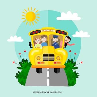 평면 디자인의 스쿨 버스 및 어린이