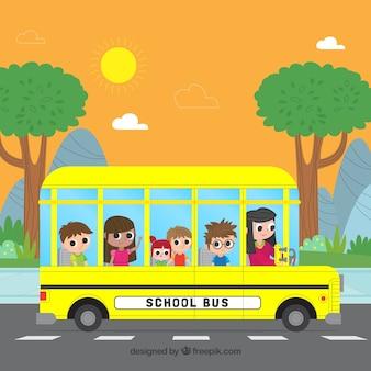 スクールバスとフラットデザインの子供たち