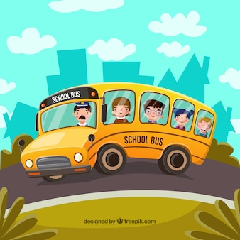 School bus and students with flat design