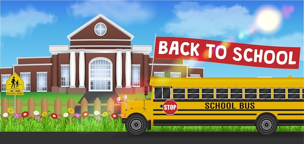 School bus and back to school flag front of school