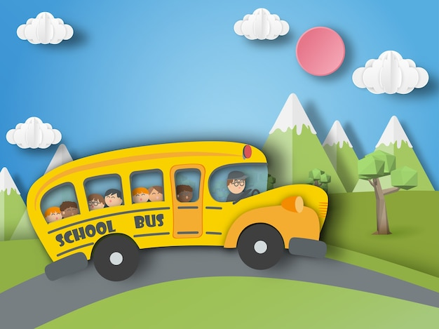 School bus ,back to school paper art style.