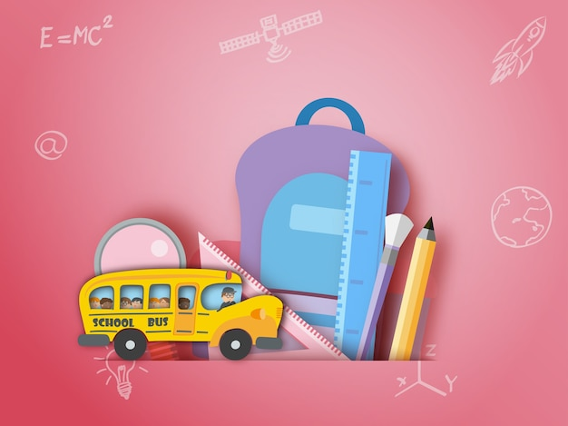 School bus back to school stationary paper art style.